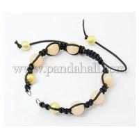 Fashion Shamballa Braided Nylon DIY Bracelet Makings, with Dyed Jade, Brass Stardust Beads AJEW-JB00003-03