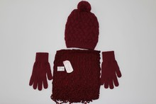 winter knit fashion hat gloves and scarf set