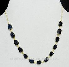 druzy nero pietra preziosa collana