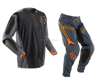 Black and orange florocent Motocross Auto racing Sports %100 Sublimation Garments Wears ( Gear Sets)