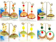 Indian Handmade Meenakari Jhumka Earring-Wholesale Indian Traditional Meenakari Jhumkas-Party wear Meenakari Big Jhumka Earring