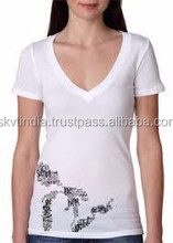 big loose v neck women t-shirt