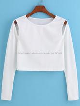 Vietnam OEM material de algodón mujeres de manga larga T-shirt