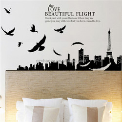 Best Promotion! Modern City Skyline Silhouette Removable Decal Home Decor Wall Sticker Wallpaper Excellent Quality