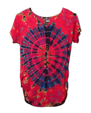 New female tie dye rayon / spandex v-neck t-shirt mixed color with tapered waist paypal accepted