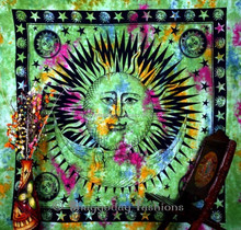 Indian Tapestry Hippie Hippy Tapestry Wall Hanging Throw Tie Dye Cotton Mandala Boho Bohemian Tapestry Tie Die Hand-Loomed Decor