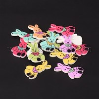 2-Hole Rabbit Printed Wooden Sewing Buttons, Mixed Color, 34x21x3mm, Hole: 1.5mm BUTT-M011-50