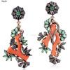 Coral & Emerald Gemstone Dangle Earrings, 18k Gold Silver Black Spinal Gemstone Dangle Earrings, Pave Diamond Earrings Jewelry