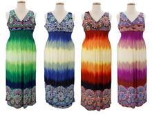 Wholesale Women's Aboriginal Bayadere Stripes Plus Size Long Dresses
