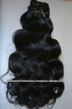 double machine wefts Indian remy tangle free human hair extension