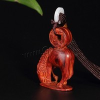 Indonesian Lobular Rosewood Horse Hand Piece with Jadeite & Nylon Cord carved 56x30x16mm Sold By PC