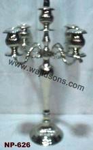 New design wedding centerpieces silver candelabra with flower stand in India