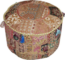 Indian Comfortable Floor Cushion-Cotton Ottoman Cover Embellished With Patchwork and Embroidery Work