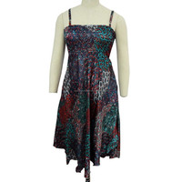 Blue Silk Sundress Women Hippie Boho Long Strap Casual Dress With Defect Size XL