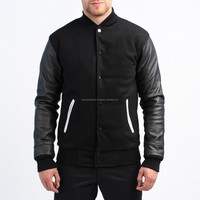 MENS BLACK WOOL VARSITY JACKET WITH LAMBS LEATHER SLEEVES REAL LEATHER ARMS VARSITY JACKETS HIGH QUALITY BASEBALL JACKETS