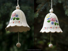"Ceramic bell interior pendant ""Butterfly and hearts"" handmade"