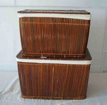 Brown Bamboo Laundry Basket with cotton linning