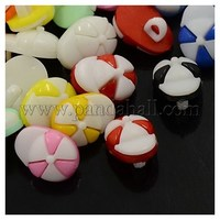 Acrylic Shank Buttons, 1-Hole, Dyed, Ball Cap, Mixed Color, 15x11x6mm, Hole: 3x2mm BUTT-E049-M