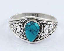 925 STERLING SOLID SILVER GEMSTONE JEWELRY BEAUTIFUL HANDMADE FASHION UNIQUE TURQUOISE RING
