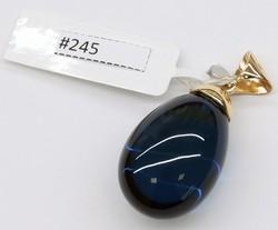 Bluish Green Caribbean Amber (14k Gold) Pendant 5,7gr #245