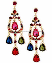 2015 Wholesale Gold Jewelry Multi-colored Crystal Womens Tear Drop Earring