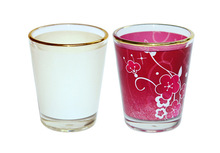 Sublimation Blank Mini Glass Mug with Gold Rim/1.5oz Small Tumbler