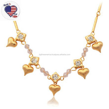 Real Gold Heart Charm Pendant Stylish Necklace Accessories for Women