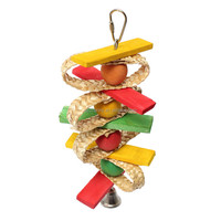 Lovely Wooden Pet Bird Parrot Chew Bite Toys Ball Stand Swing Cage Rope Bell Hanging Cockatiel Parakeet Great Gift Supplies