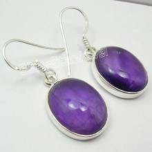 925 Sterling Silver CABOCHON Purple AMETHYST BIG PRETTY Dangle Earrings 3.3 CM