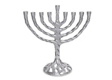 Silver finish hannuka candle holder menorah with Jewish religious article, antique finish aluminium menorah candlestick holde