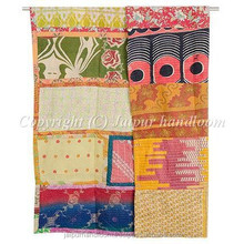 Indian Kantha Quilt Cotton Throw Decorative Vintage Ethnic Bed Cover Reversible Flower Prints Bedspread