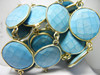 Turquoise Gold Plated Bezel Set Gemstone Connector Chain