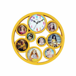 ROUND MULTIPLE PHOTO FRAME WITH CLOCK