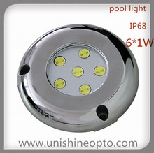 6w round pool lights Led Stainless steel S316L, IP68 for fountain fish tanks pool
