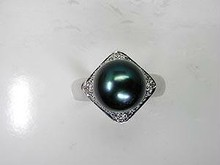 Black Pearl Diamond Engagement ring 18kt White Gold JEWELFORME BLUE Wholesale