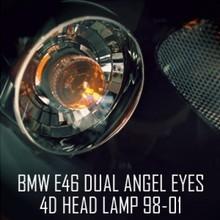 [AUTO LAMP] BM E46 4Door - LED Dual Angel Eyes Projector Headlights Set