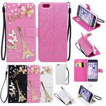 New Crystal Flip Leather Wallet Case Cover with Strap For iPhone 6 4.7 (Rainbow Flower)
