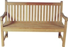 Teak Outdoor Sraight Back Bench