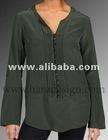 túnica de cetim tops alta qualidade deisgn com pintuck frontal com botões