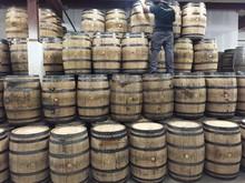 Freshly dumped bourbon barrels. 53 gallons