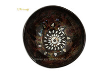 Real coconut bowl artistic and eggshell inlaid inspired nature inspired coconut shell bowl with special color cheap price