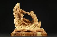 Olive Wood Carved Composition of Jesus Christ & St. Peter on Boat