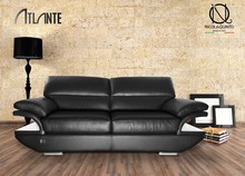 Italian Sofa Two seater, Genuine Leather, Inox armchair, steel ATL