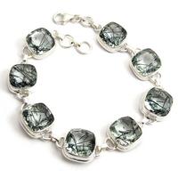 Summer Time Square Black Rutile 925 Sterling Silver Bracelet, Semi Precious Stone Silver Jewelry, Silver Jewelry
