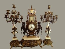 NEOCLASSICAL TABLE CLOCK SET WITH PUTTI