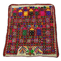 """Indian Home Decor wall Decor Embroidered Tapestry Mirror Work Wall Hanging Antique Handcrafted Table Runner 44"""" X 42"""" IncheTP299"""