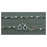 """Brass Necklace Chain, Plated Chromium, Platinum Color, about 1.5mm in diameter, 16.5"""" long SW052-3"""