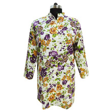 Floral Printed Shirt Sequins Top Button Down Full Sleeve White Blouse Size XXXL