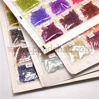 24Bag/Board Mixed Color 6/0 Glass Seed Beads, Mixed Color, 4mm, Hole: 0.8~1mm