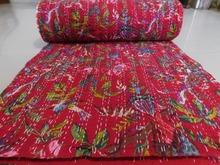 BRKQ- 91 Indian Red Bird print Kantha queen size gudri quilt throws bedcover Handmade Rally, bedding manufacturer from jaipur